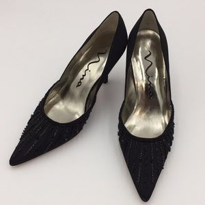 Nina Ladies Heels Black Beaded Pumps Formal 6M